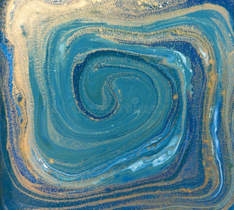 Blått, gräsplan och guldvätsketextur Dragen hand marmorera bakgrund Modell för färgpulvermarmorabstrakt begrepp vektor illustrationer