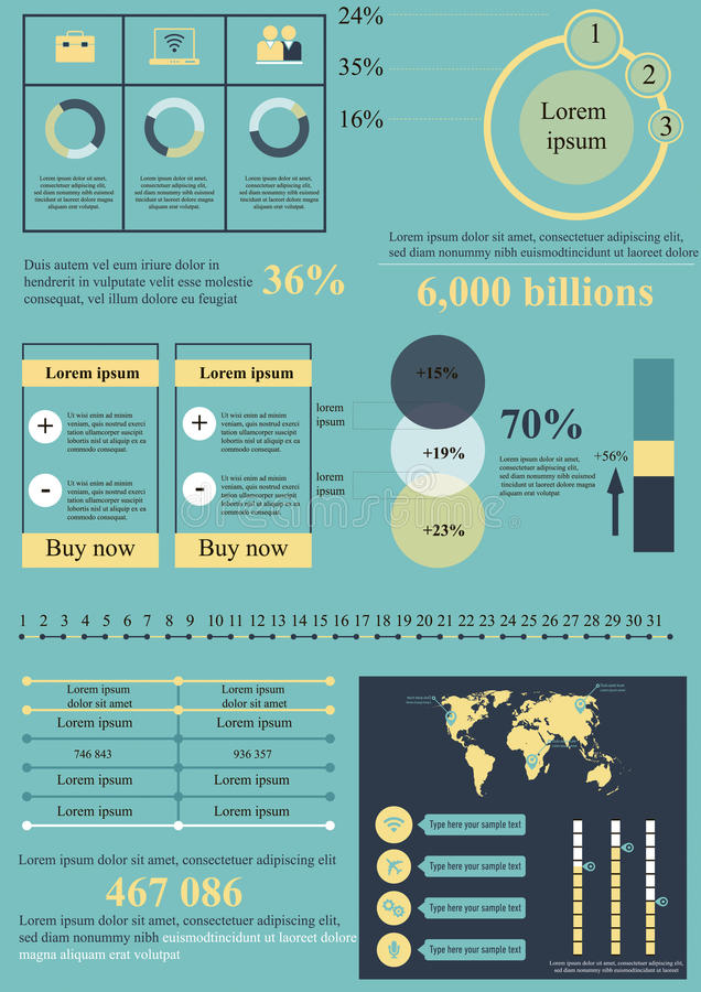 Blått-guling informationsbeståndsdelar royaltyfri illustrationer