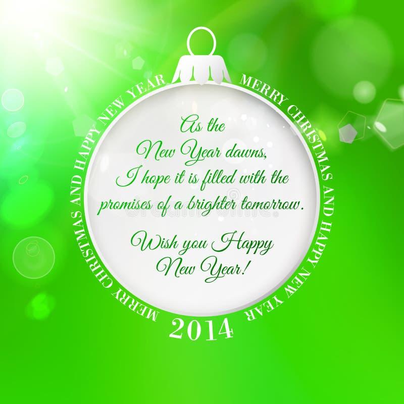 Blått hälsningkort med julgrangarnering. royaltyfri illustrationer