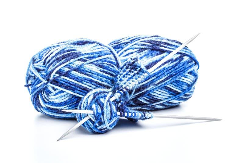 Blått handarbetegarn arkivfoto