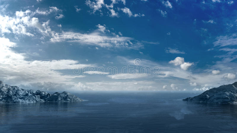blått hav över skyen vektor illustrationer