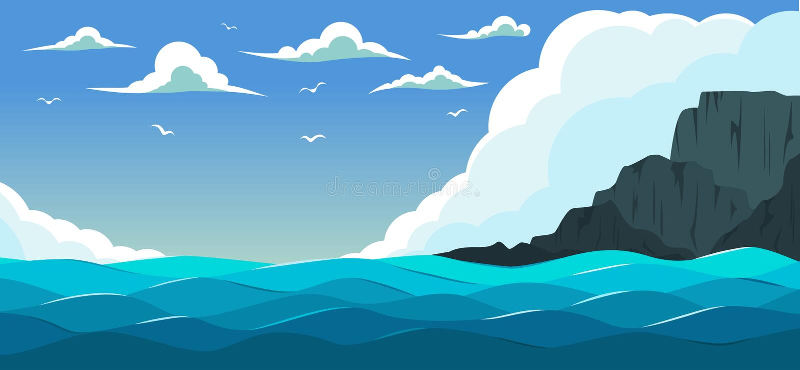 Blått hav med waves stock illustrationer