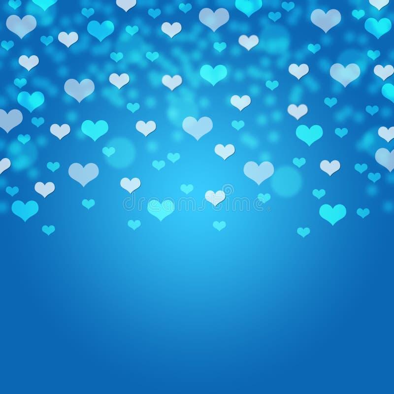 Blått hjärtabokehkort/textur/bakgrund royaltyfria foton
