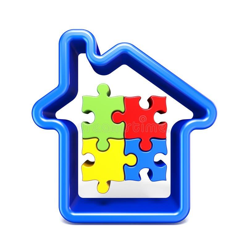 Blått husöversiktstecken med pussel 3D stock illustrationer