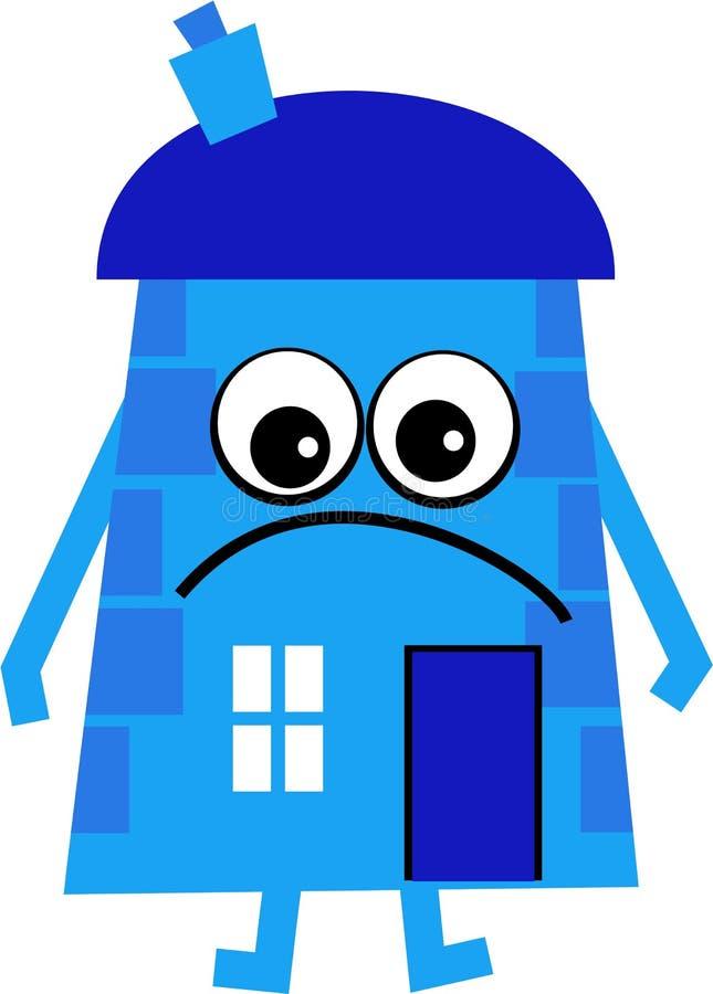 blått hus stock illustrationer
