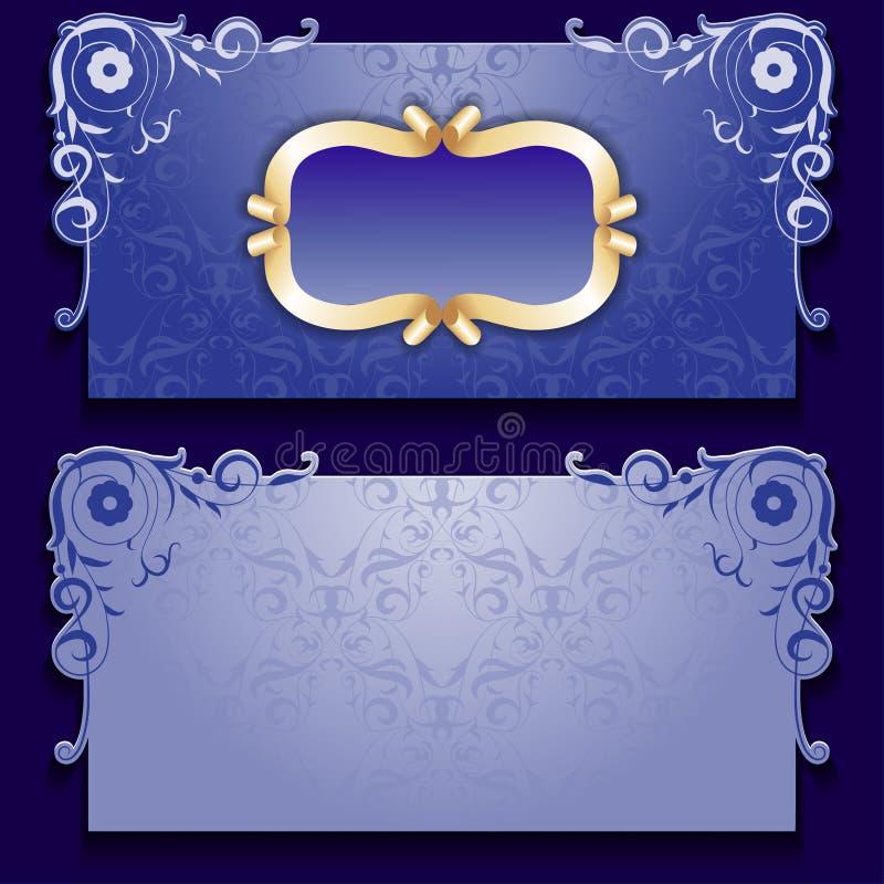 Blått inbjudankort för vektor med ramen royaltyfri illustrationer