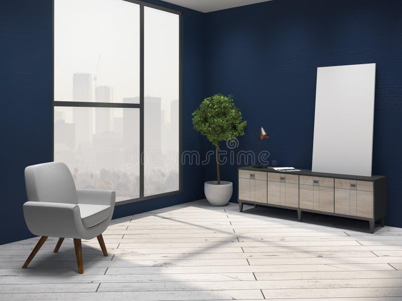 blått inre vardagsrum royaltyfri illustrationer