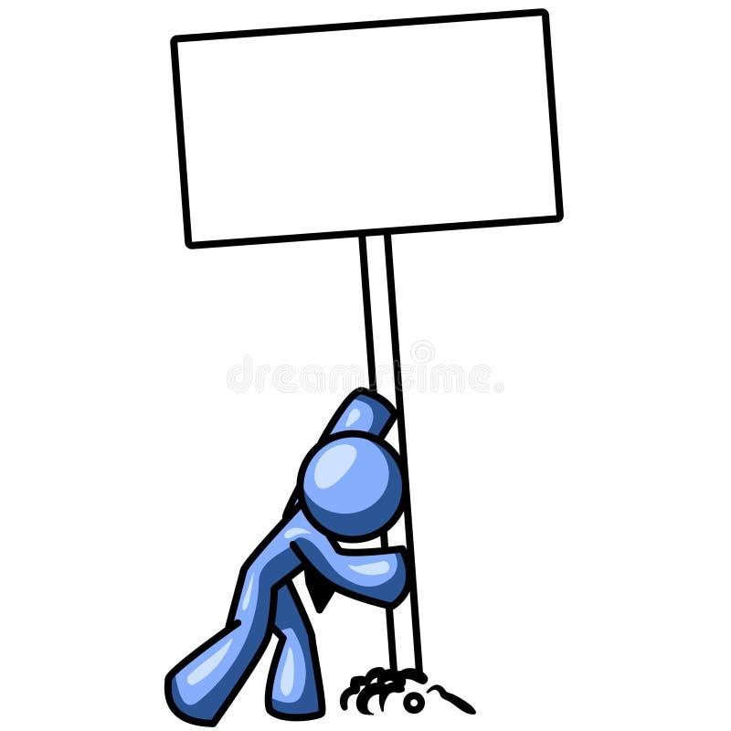blått installerande mantecken stock illustrationer