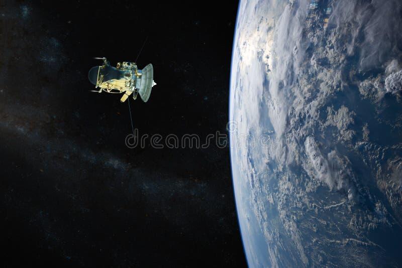 blått jordplanet Rymdskepplansering in i utrymme Beståndsdelar av denna avbildar möblerat av NASA royaltyfri illustrationer
