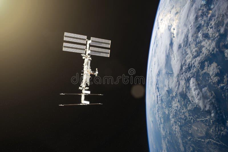blått jordplanet Rymdskepplansering in i utrymme Beståndsdelar av denna avbildar möblerat av NASA arkivfoto