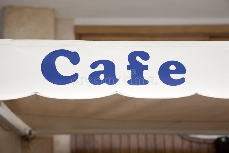 Blått kafétecken arkivbilder