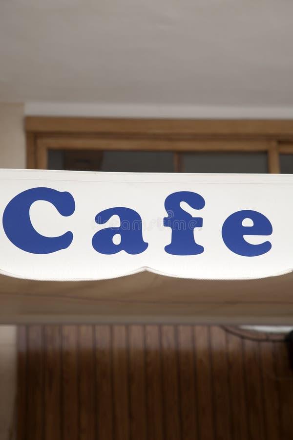 Blått kafétecken arkivfoto