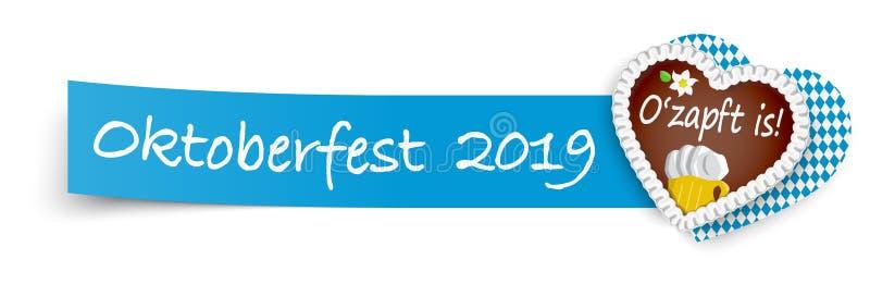 blått klibbigt papper med pepparkakahjärta Oktoberfest 2019 royaltyfri illustrationer