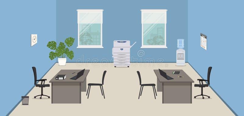 Blått kontorsrum med gråa skrivbord, svartstolar, en kopieringsmaskin och en vattenkylare, royaltyfri illustrationer