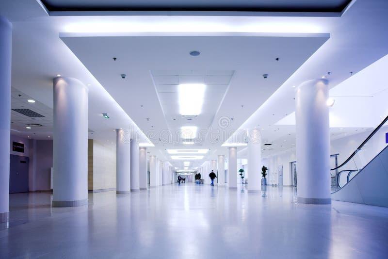 blått korridorkontor royaltyfri fotografi