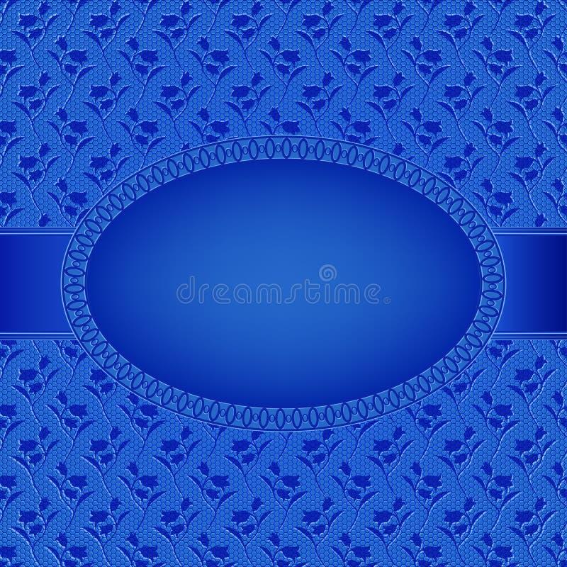 Blått kort med den ovala ramen på blommabakgrund royaltyfri illustrationer