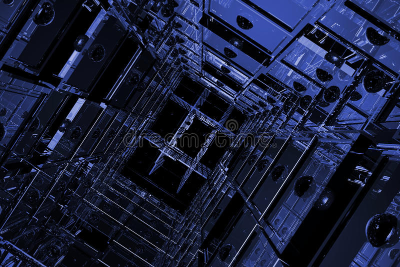 blått kubikavstånd vektor illustrationer
