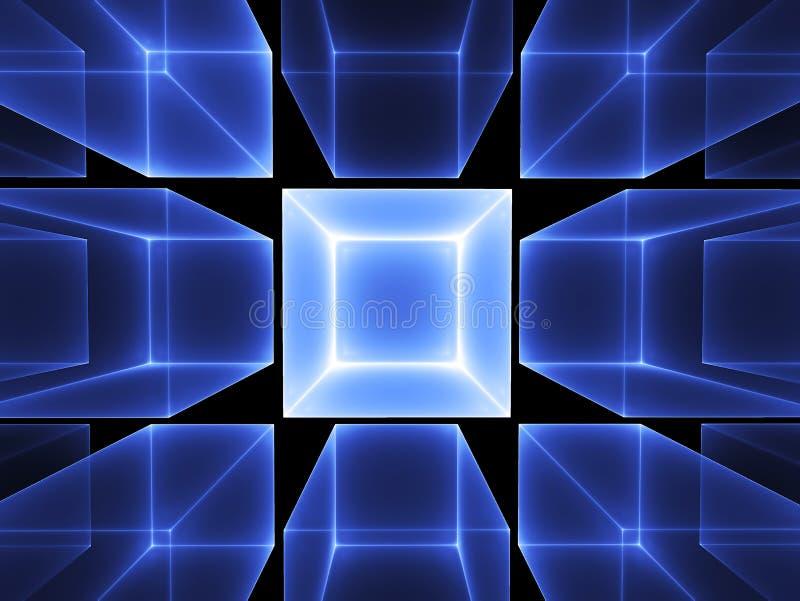 blått kubikperspektiv vektor illustrationer