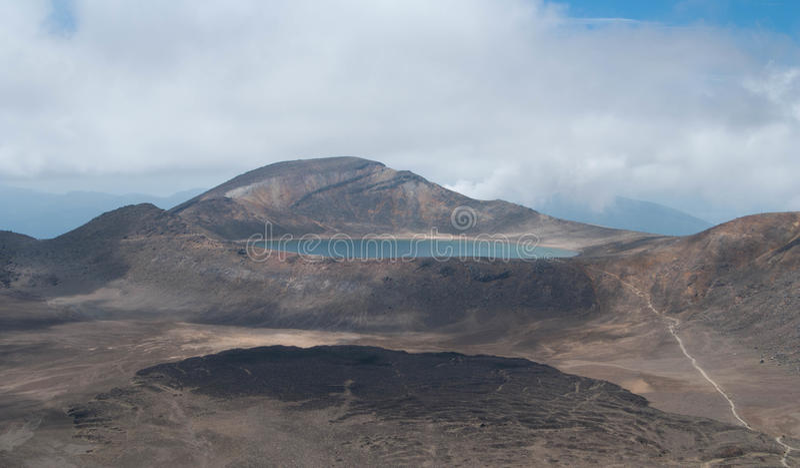 Blått Lake Tongariro korsning arkivbild