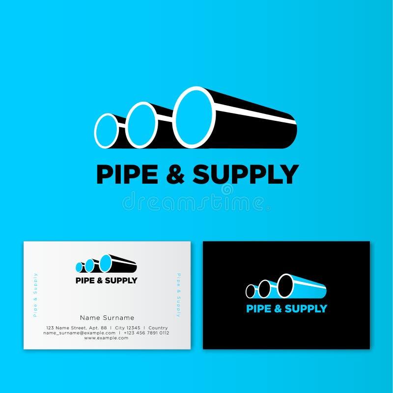 Blått leda i rör logo & brännmärkaidentiteten Företags logodesignmall Isolerat på blå vit bakgrund stock illustrationer