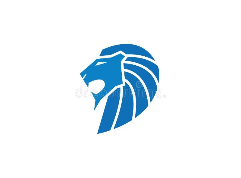 Blått lejonhuvud och att vända mot den öppna munnen som vrålar för logodesignillustration royaltyfri illustrationer