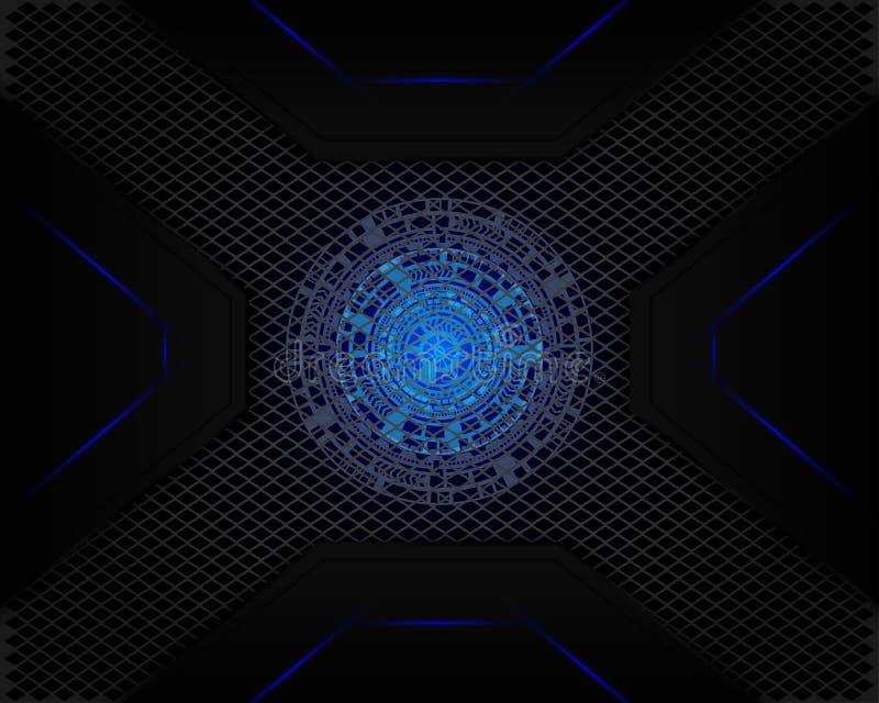 Blått ljus för teknologi i mörkt grått för ingreppsskugga som bakgrund vektor illustrationer