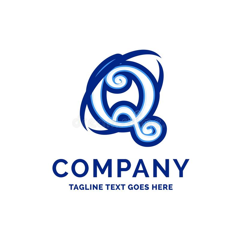 Blått Logo Design för Q Företag namndesign royaltyfri illustrationer