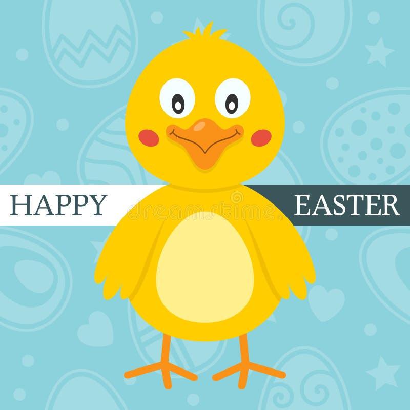 Blått lyckligt påskkort med den gulliga fågelungen vektor illustrationer