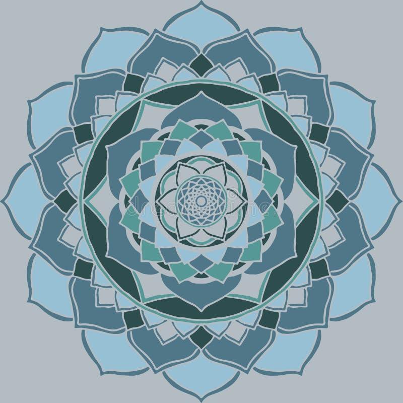 Blått Mandalaljus -, guetzal grön orientalisk prydnad royaltyfri illustrationer