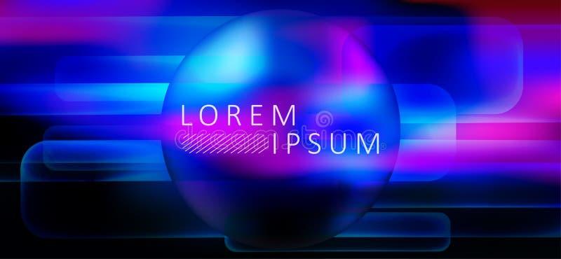 Blått med purpurfärgad mörk abstrakt bakgrund med konturn av en rund ram vektor illustrationer