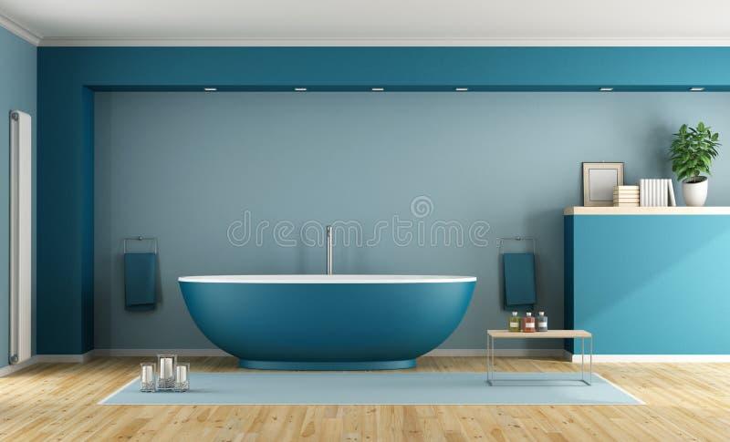Blått modernt badrum royaltyfri illustrationer