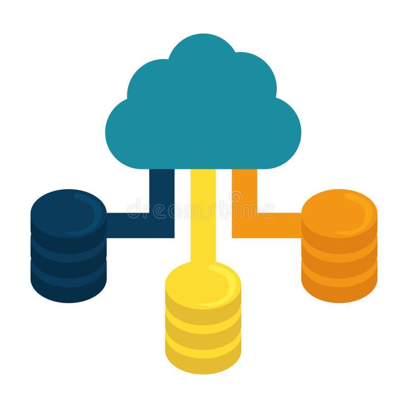 Blått moln som är värd datorhallen stock illustrationer