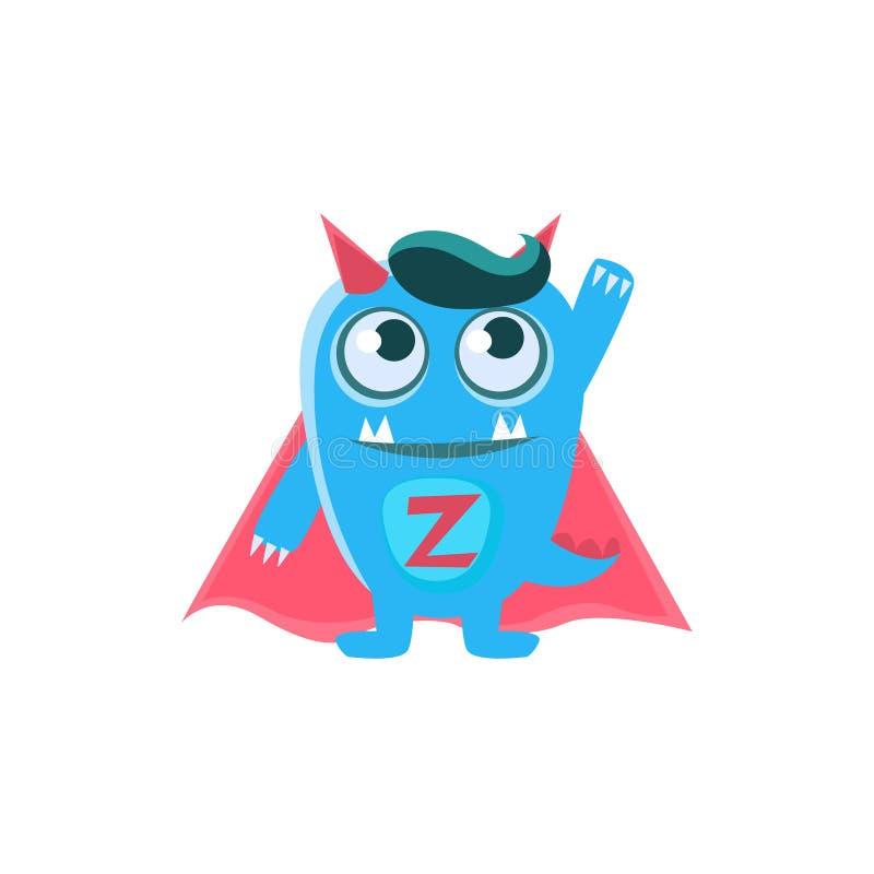 Blått monster för Superhero med horn och den spetsiga svansen vektor illustrationer