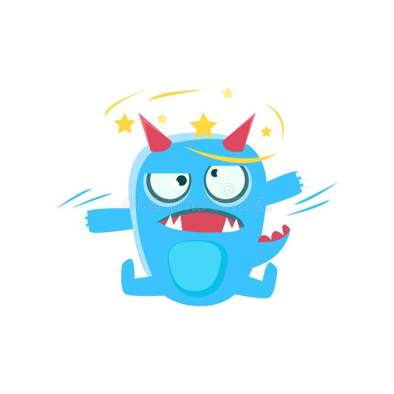 Blått monster med horn och spetsiga svansstjärnor för ögon vektor illustrationer