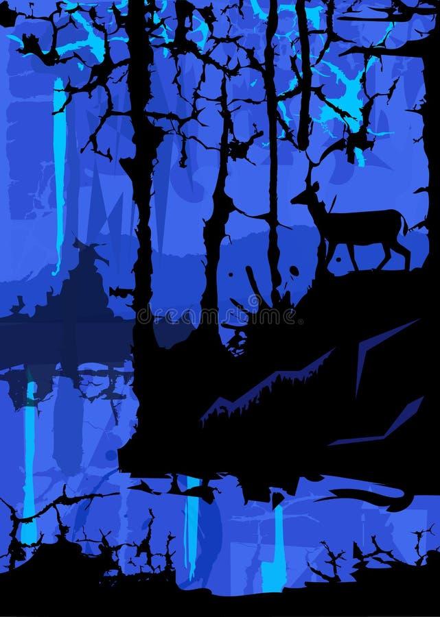 Blått mystiskt landskap royaltyfri illustrationer