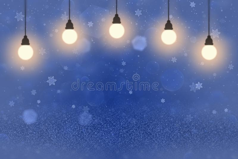 Blått nätt glansigt blänker bakgrund för defocused bokeh för ljus abstrakt med ljusa kulor, och fallande snöflingor flyger, stock illustrationer