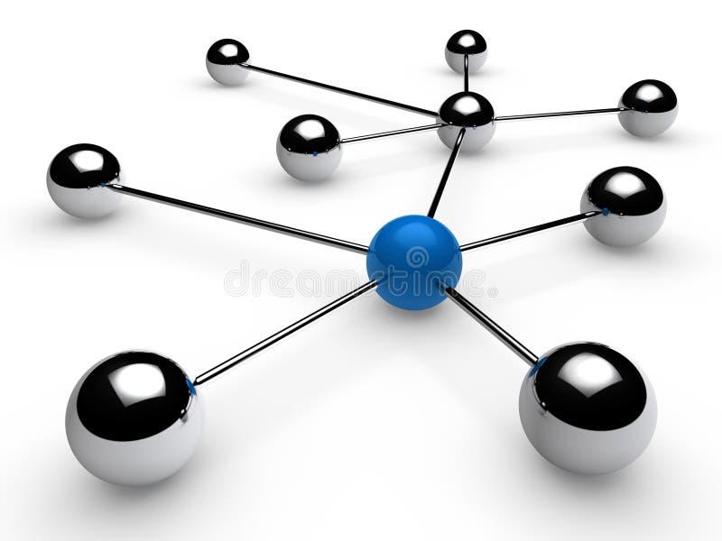 blått nätverk för krom 3d stock illustrationer