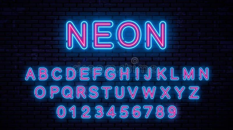 Blått neon - röda bokstäver stock illustrationer
