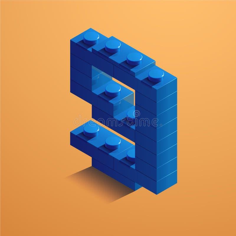 Blått nummer nio av consructortegelsten på gul bakgrund tegelsten för 3D Lego också vektor för coreldrawillustration vektor illustrationer