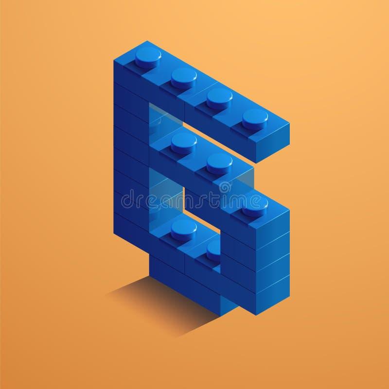 Blått nummer sex av consructortegelsten på gul bakgrund tegelsten för 3D Lego också vektor för coreldrawillustration stock illustrationer