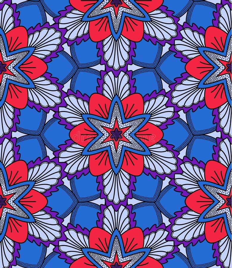 Blått och den röda blomman mönstrar stock illustrationer