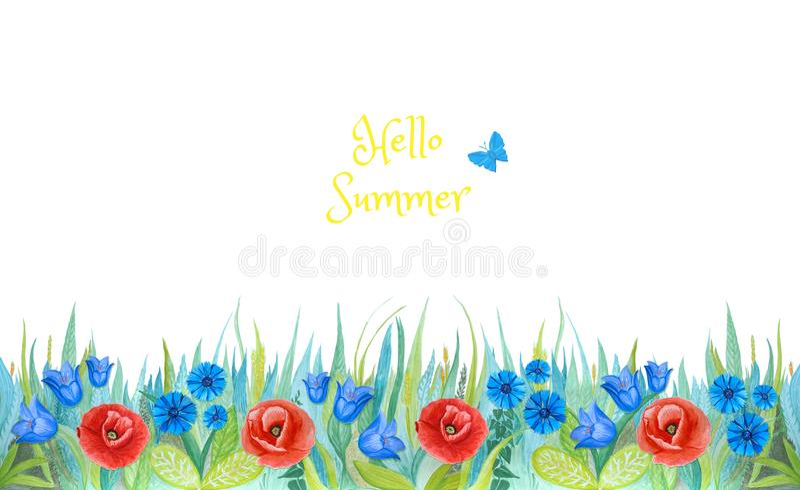 Blått och grönt gräs med ljusa blåklinter, vallmo, blåa klockor isolerad bakgrund planterar white vektor illustrationer