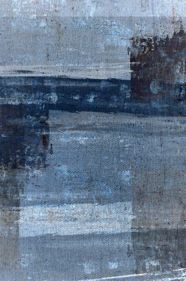 Blått och Grey Abstract Art Painting arkivbilder