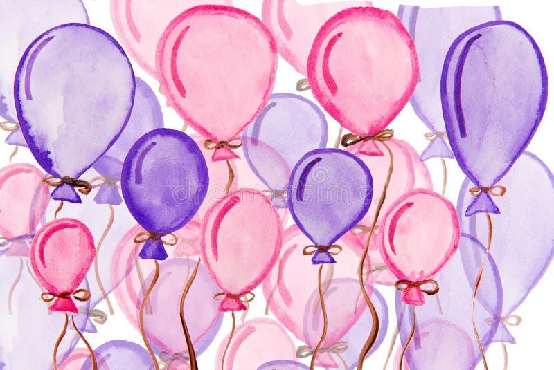 Blått- och rosa färgballongvattenfärg stock illustrationer