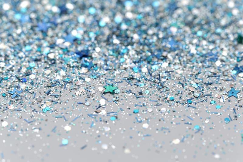 Blått och silver fryste mousserande stjärnor för snövinter blänker bakgrund Ferie jul, abstrakt begrepptextur för nytt år arkivfoton