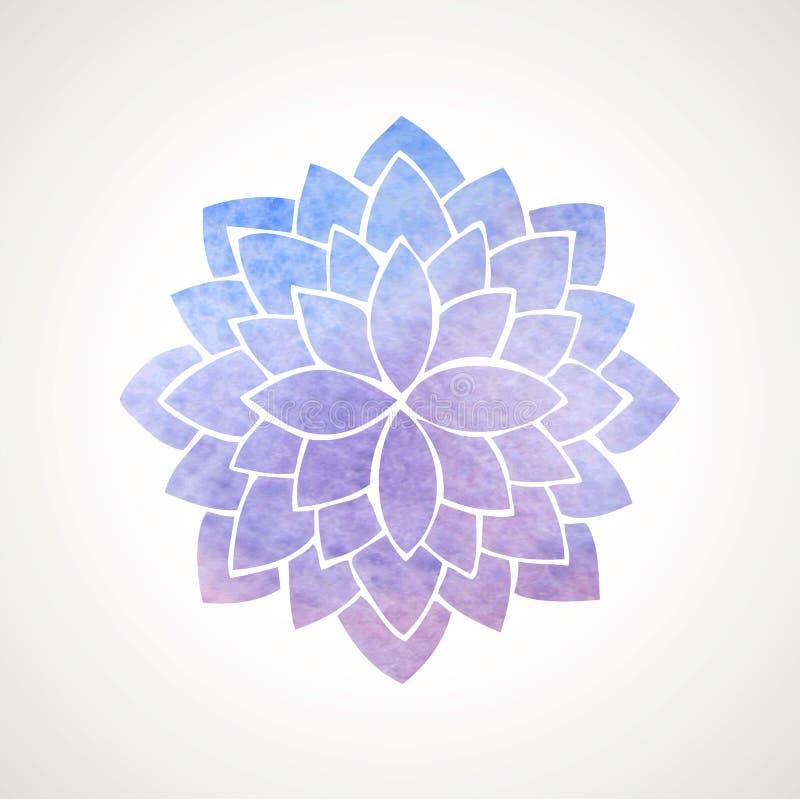 Blått och violet för vattenfärglotusblommablomma vektor illustrationer