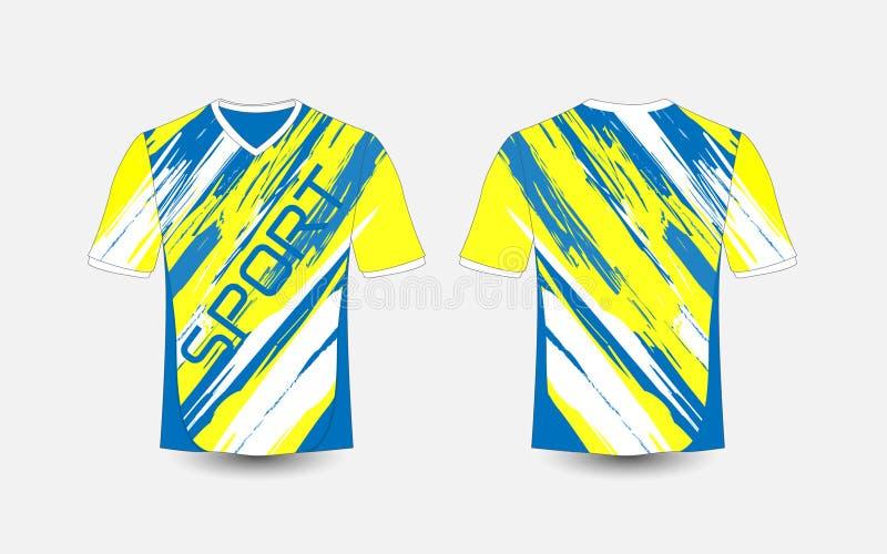 Blått- och vitbandet mönstrar sportfotbollsatser, ärmlös tröja, t-skjorta designmall stock illustrationer