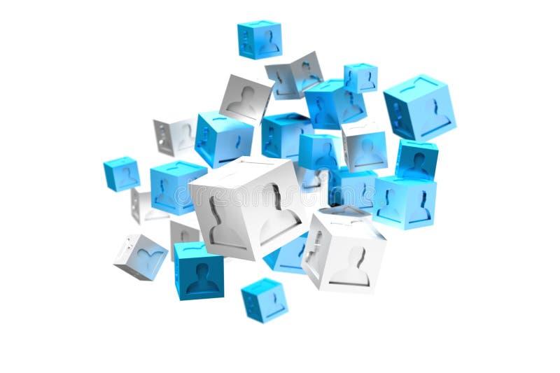blått- och vitkub för tolkning 3d på en färgbakgrund royaltyfri illustrationer