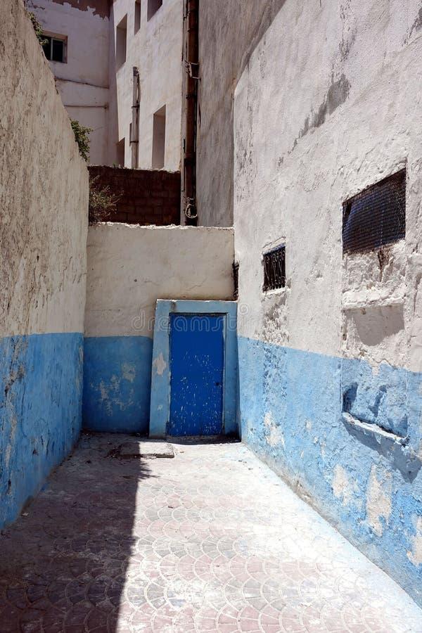 Blått på gatorna av Marocko, Afrika royaltyfri bild