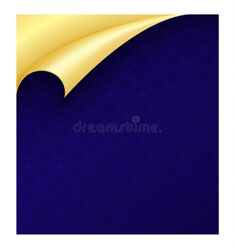 Blått papper med tappningtextur och krullat guld- vektor illustrationer
